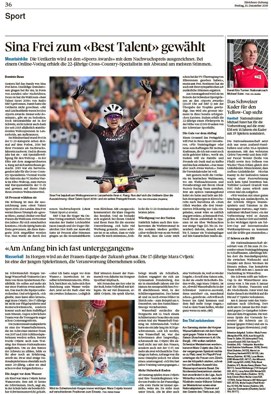 2019-12-13: Zürichsee Zeitung über Sina Frei