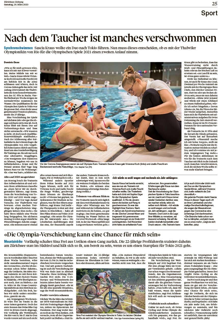 2020-03-28: Zürichsee Zeitung über Sina Frei