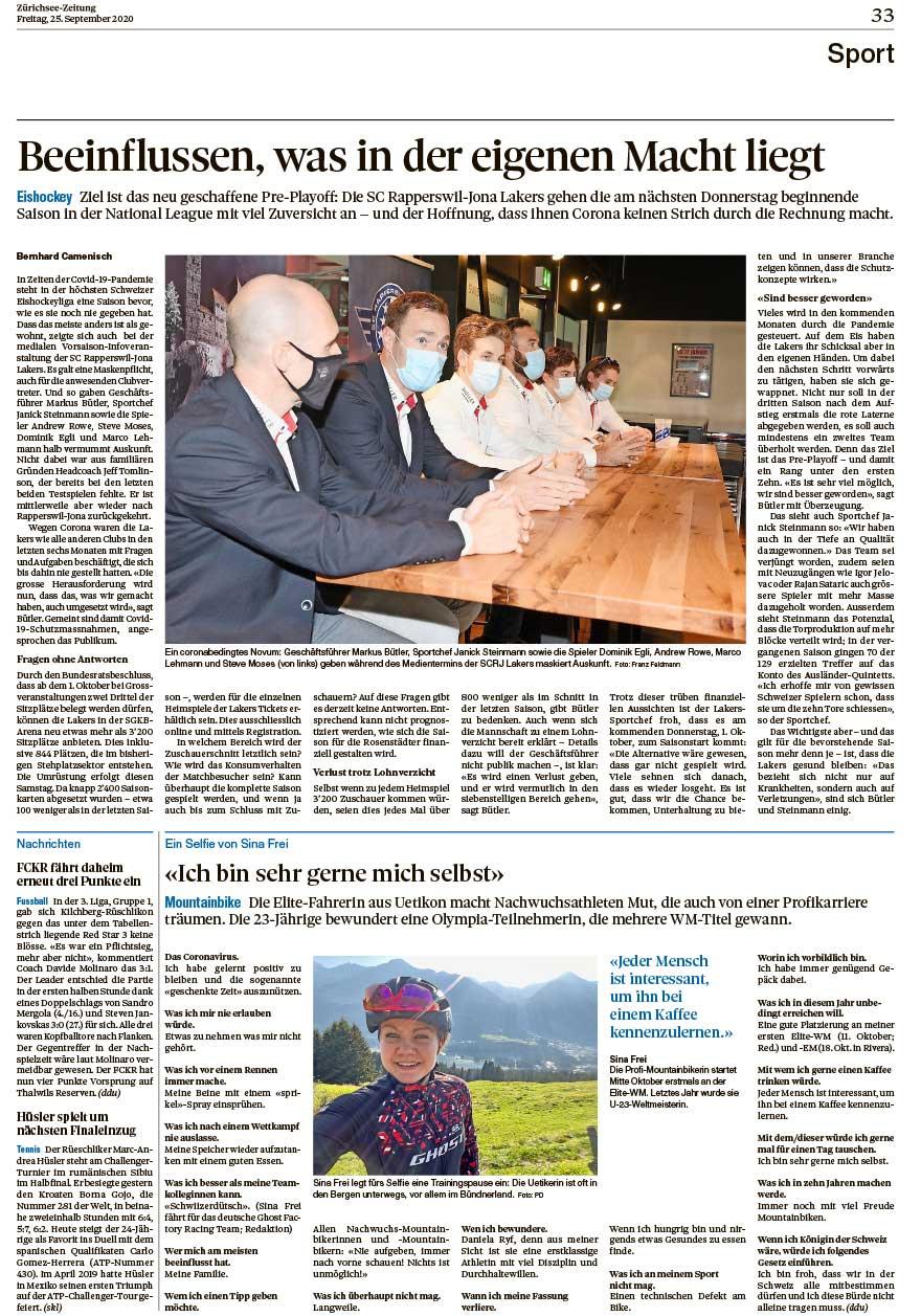 2020-09-25: Zürichsee Zeitung, Ich Bin Sehr Gerne Mich Selbst