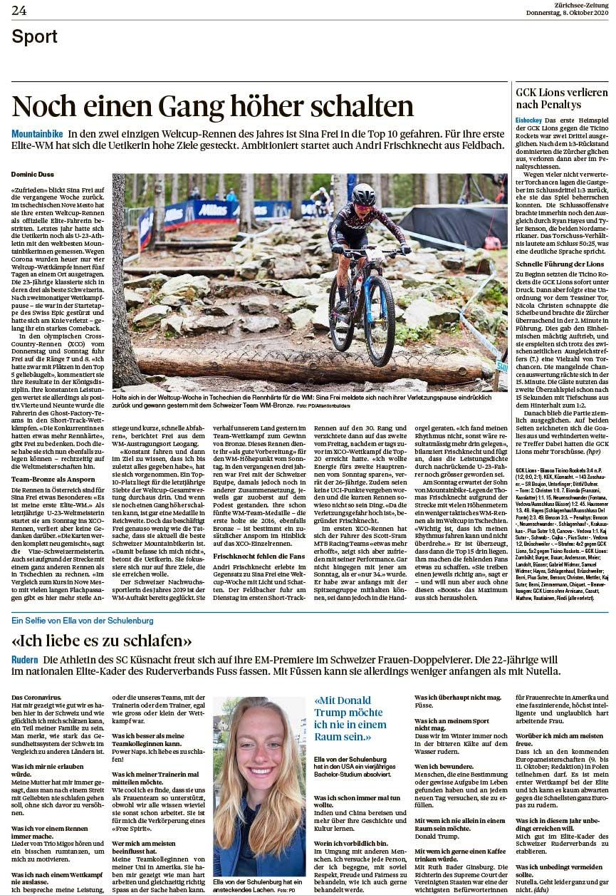 2020-10-08: Zürichsee Zeitung, Noch Einen Gang Höher Schalten
