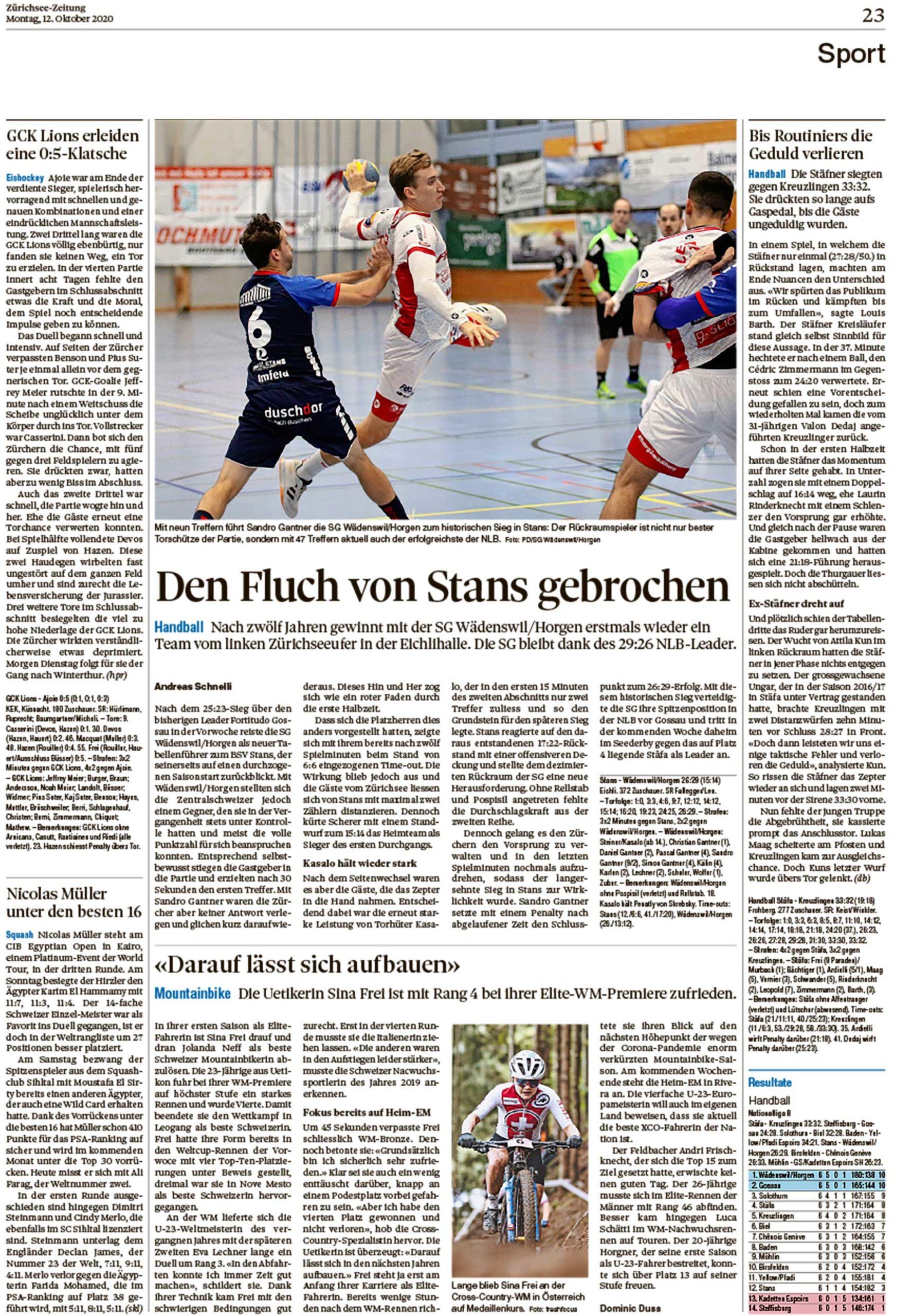2020-10-12: Zürichsee-Zeitung, Darauf Lässt Sich Aufbauen