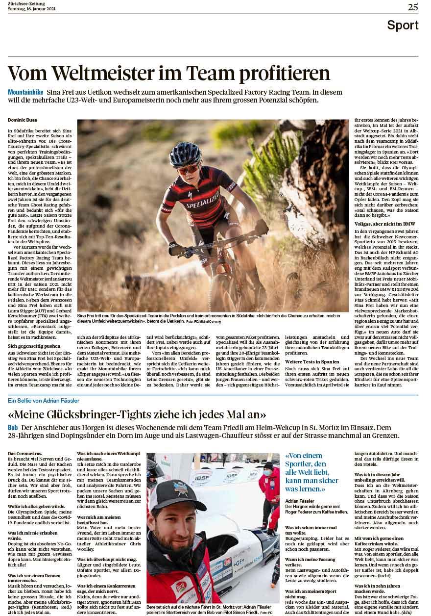 2021-01-16: Zürichsee-Zeitung, Vom Weltmeister Im Team Profitieren