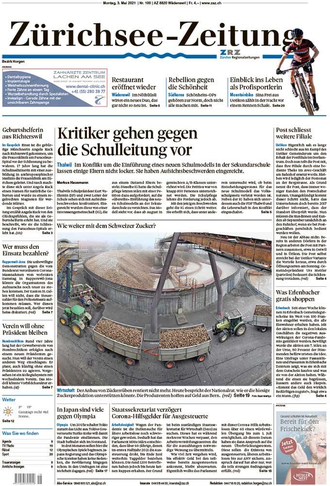 2021-05-03: Zürichsee-Zeitung, Weg Frei Nach Tokio