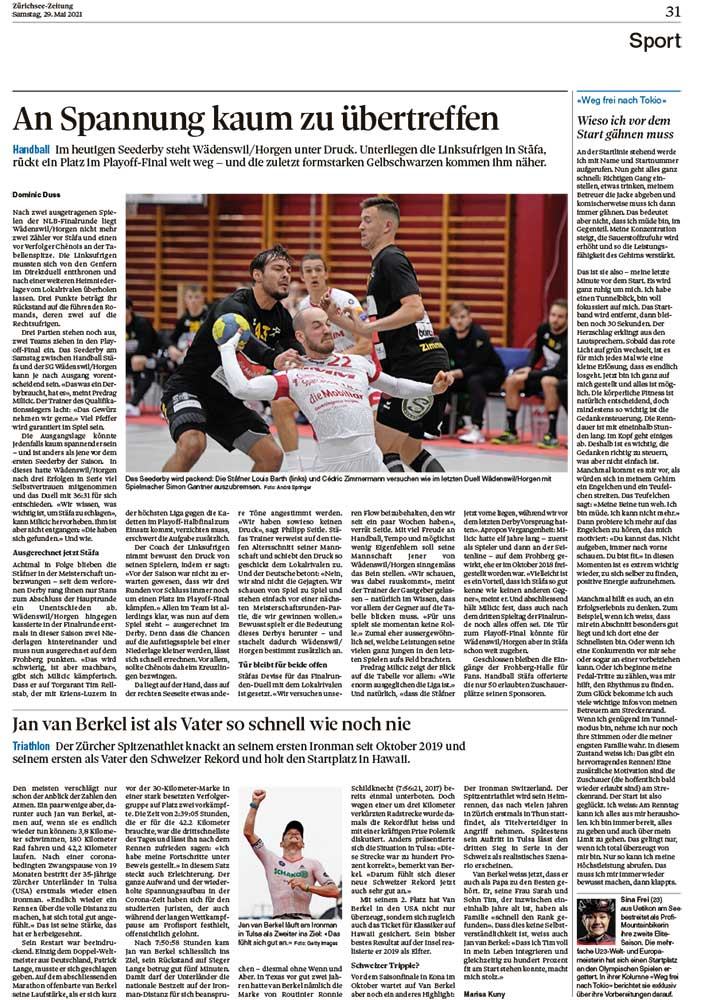 2021-05-29: Zürichsee-Zeitung, Weg Frei Nach Tokio