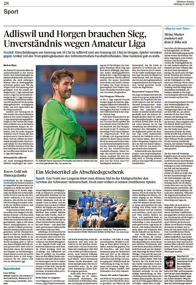 2021-06-26: Zürichsee-Zeitung, Weg Frei Nach Tokio