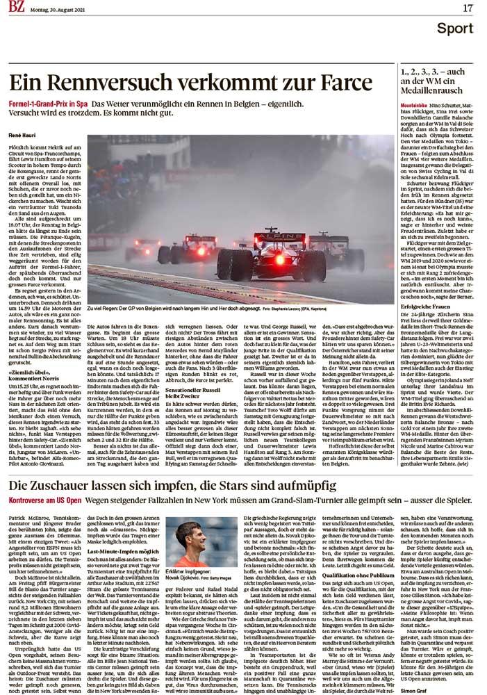 2021-08-30: Langenthaler Tagblatt